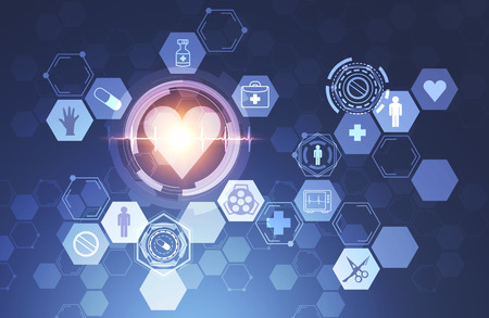 Immersive interface of heart and medical icons over dark blue background. Concept of hi tech in medicine. 3d rendering toned image double exposure
