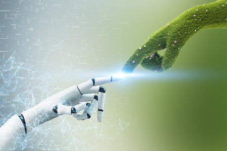 Grass hand touching robot hand over green gray background with binary numbers. Concept of ecology, environmental protection and responsibility. 3d rendering double exposure
