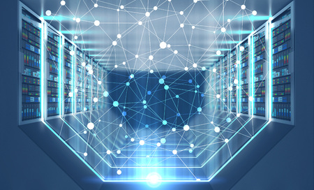 Network hologram over interior of server room with gray floor and ceiling, rows of servers along the walls and lights in the floor and walls. 3d rendering toned image double exposure Stock Photo