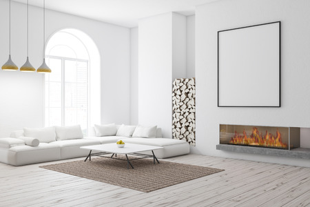 Corner of modern living room with white walls, wooden floor, arched window, and white sofa near coffee table and fireplace. Vertical poster. 3d rendering mock up Banque d'images