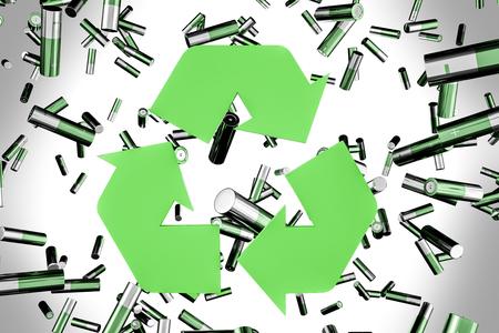 Grüne Alkalibatterien, die über grauen Hintergrund fallen. Großes grünes Recycling-Zeichen. Konzept des Umweltschutzes. 3D-Rendering Standard-Bild