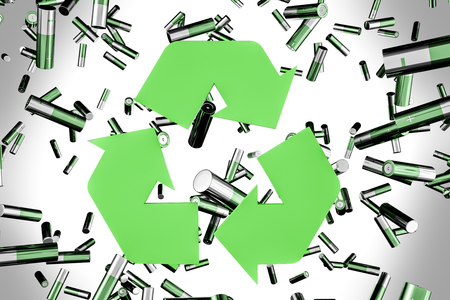 Green alkaline batteries falling over gray background. Big green recycle sign. Concept of environment protection. 3d rendering