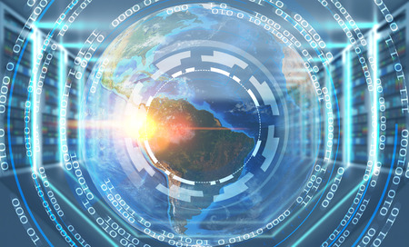 Earth in hud with round lines of code over blurred server room background. 3d rendering toned image double exposure