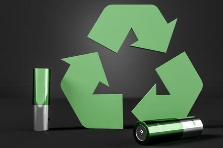 Two green and silver alkaline batteries and big green recycle sign over black background. Concept of environment protection. 3d rendering