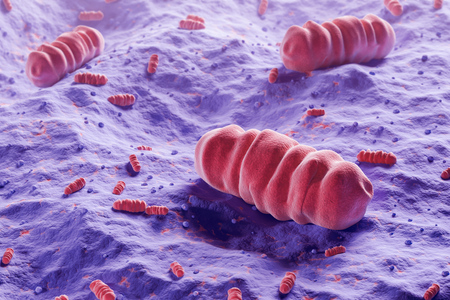 Three big pink microbes over purple background. Concept of contamination, sickness and health. 3d rendering Stock Photo
