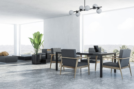 Corner of modern dining room and living room with white walls, concrete floor, black table with gray armchairs and gray sofa near black coffee table. 3d rendering Standard-Bild