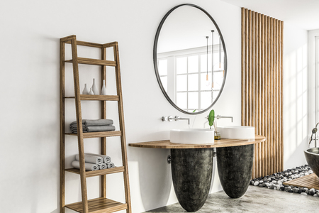Side view of modern bathroom with white and wooden walls, concrete floor, and two round sinks standing on wooden shelf next to shelves for towels. 3d rendering
