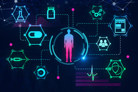Blue red man figure in hud surrounded by medical icons over dark blue background. Hi tech in medicine concept. 3d rendering toned image double exposure Stock Photo