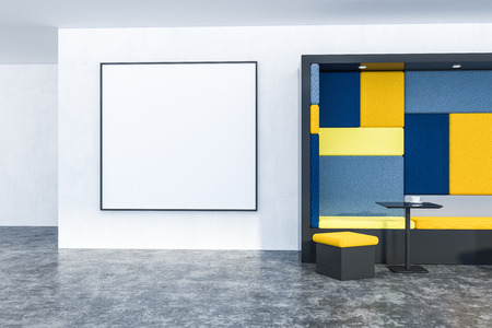 Table in modern cafe with white walls, concrete floor, yellow and blue sofa and yellow chair. Large square poster on the wall. 3d rendering mock up