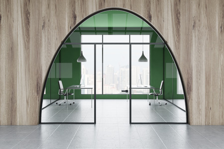 Manager office interior with green and wooden walls, tiled floor, two computer tables with black chairs seen through arched glass door from the lobby. 3d rendering 스톡 콘텐츠