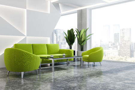 Interior of modern office waiting room with white walls, concrete floor, panoramic window with cityscape and green sofa and armchairs standing near coffee table. 3d rendering Foto de archivo