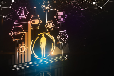Yellow man figure in hud surrounded by medical icons over black background. Hi tech in medicine concept. 3d rendering toned image double exposure mock up Stock Photo