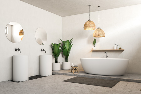 White bathroom corner with concrete floor, white bathtub, two white round sinks with round mirrors above them. 3d rendering Stockfoto