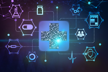 Immersive medical interface made of blue first aid sign and medical icons over dark blue and purple background. 3d rendering toned image double exposure