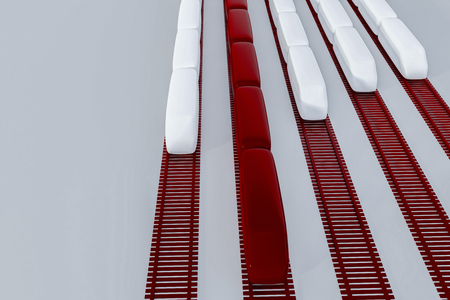 White and red train models on red rails placed vertically over gray background. Concept of transportation and speed. 3d rendering