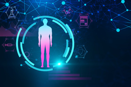Blue red man figure in hud over dark blue background with medical icons and network hologram. Hi tech in medicine concept. 3d rendering toned image double exposure mock up