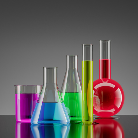 Test tubes of different shapes filled with purple, blue, green, yellow and red liquids standing on dark gray surface over light gray background. 3d rendering