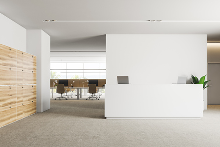 Interior of office reception area with white walls, carpet on floor, white reception desk with laptops and wooden lockers. Office in the background. 3d rendering