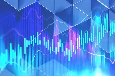 Abstract red, blue and white graphs over dark blue background with triangular pattern. Stock market concept. 3d rendering toned image double exposure