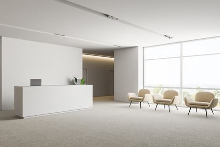 Corner of office waiting room with white walls, carpet on the floor, white reception desk and row of white armchairs near the window. 3d rendering