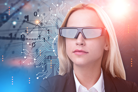 Blonde businesswoman in ai glasses standing over blue red background with binary numbers and circuits immersive interface. Tone image double exposure