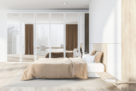 Side view of master bedroom with white walls, wooden floor, master bed with beige blanket and closet with mirror doors. 3d rendering Standard-Bild - 113587592