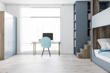Interior of modern bedroom with white walls, wooden floor, gray and wooden bunk bed, a gray bookcase, a gray closet and white computer table with blue chair. 3d rendering