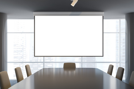 Front view of office conference room with long table with beige chairs, large projector screen and panoramic windows. 3d rendering mock up
