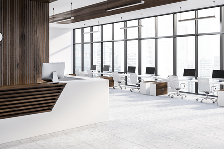 Side view of reception table with computer standing in modern office with panoramic windows and row of computer tables near it. 3d rendering Banque d'images - 115168275