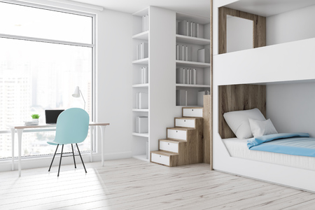 Corner of modern bedroom with white walls, wooden floor, white and wooden bunk bed, a bookcase and white computer table with blue chair. 3d rendering