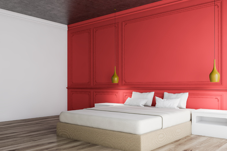 Corner of master bedroom with white and red walls, wooden floor, beige bed with white bedside tables and stylish ceiling lamps. 3d rendering