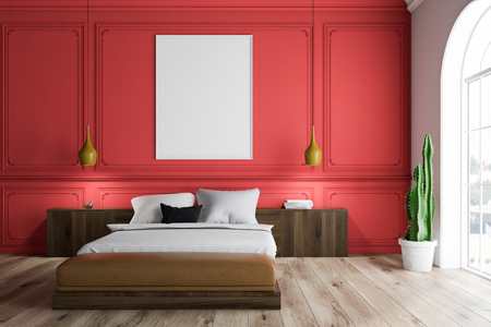 Interior of master bedroom with red and white walls, arched windows, dark wooden master bed with wooden bedside tables and vertical poster. 3d rendering mock up Stock Photo
