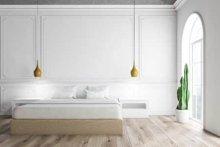 Interior of master bedroom with white walls, arched windows, wooden floor and beige master bed with white bedside tables. 3d rendering