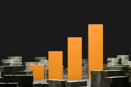 Stacks of dollar bills lying around yellow bar chart over black background. Concept of investment and market. 3d rendering