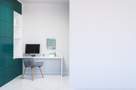 Interior of home office with white walls, concrete floor, white computer table with bookcase next to it and mock up wall on the right. 3d rendering