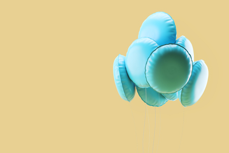 Bunch of blue balloons floating over yellow background. Concept of celebration and happiness. 3d rendering mock up Stok Fotoğraf