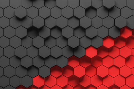 Abstract background made of black and red hexagons of different height. Concept of creativity and art. 3d rendering Stockfoto