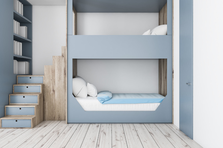 Interior of teenager bedroom with white walls, wooden floor, gray and wooden bunk bed and gray bookcase. 3d rendering