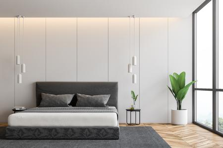 Interno panoramico della camera da letto con pareti bianche, pavimento in legno, letto matrimoniale grigio in piedi su tappeto grigio e pianta in vaso. rendering 3d