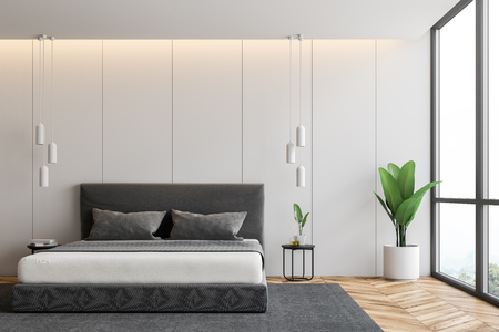 Panoramic bedroom interior with white walls, wooden floor, gray master bed standing on gray carpet and potted plant. 3d rendering