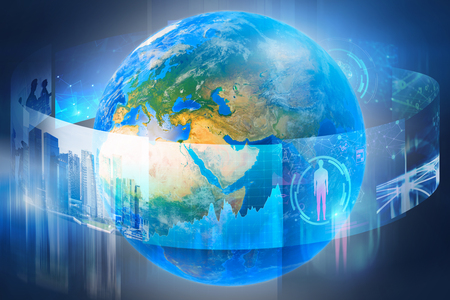 Planet Earth surrounded by business images and infographics over blue background. Concept of hi tech. 3d rendering toned image double exposure. Elements of this image furnished by NASA Stock Photo
