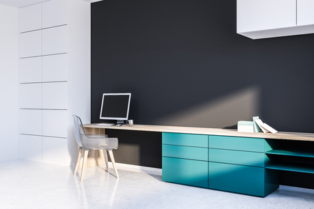 Corner of home office with gray walls, white floor, blue and wooden table with computer on it and transparent chair. 3d rendering