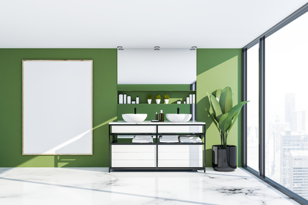 Interior of panoramic bathroom with green walls, white marble floor and double sink standing on white countertop with horizontal mirror above it. Vertical poster. 3d rendering mock up