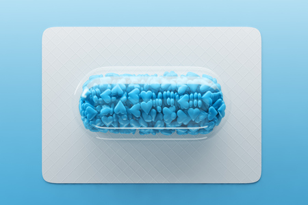 Transparent pill with blue candy hearts lying on white board over blue background. Concept of Valentine day celebration. 3d rendering