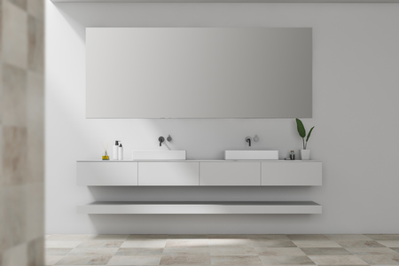 Interior of stylish bathroom with white and beige tile walls and double sink standing on white countertop with big horizontal mirror above it. 3d rendering Stock Photo