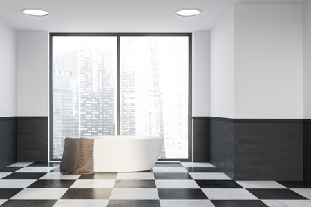 Interior of stylish bathroom with white and gray brick walls, tiled floor and white bathtub standing near big window with cityscape. 3d rendering Archivio Fotografico - 116378201