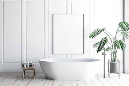 Interior of minimalistic bathroom with white walls, wooden floor, white bathtub with vertical poster hanging above it and potted plant. 3d rendering mock up Archivio Fotografico - 116378593