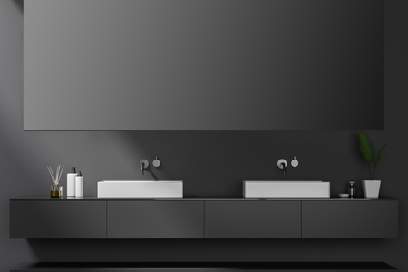 Double bathroom sink standing on gray countertop in room with gray walls and big horizontal mirror. 3d rendering