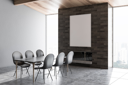 Attic dining room corner with gray walls, gray tiled floor, black table with gray chairs and fireplace. Vertical poster. 3d rendering mock up Stock Photo
