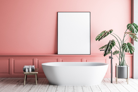 Interior of minimalistic bathroom with pink walls, wooden floor, white bathtub with vertical poster hanging above it and potted plant. 3d rendering mock up Archivio Fotografico - 117070274